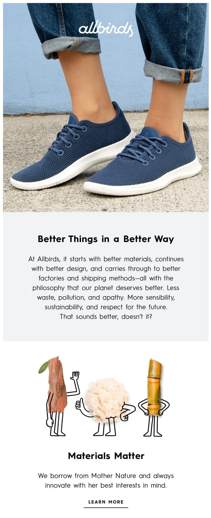 walcome email example allbirds