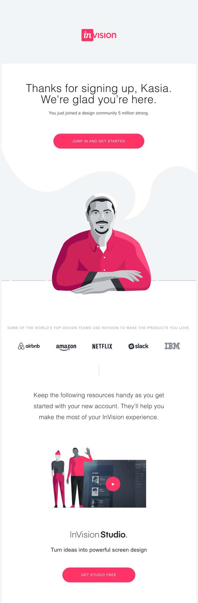 welcome email example invision