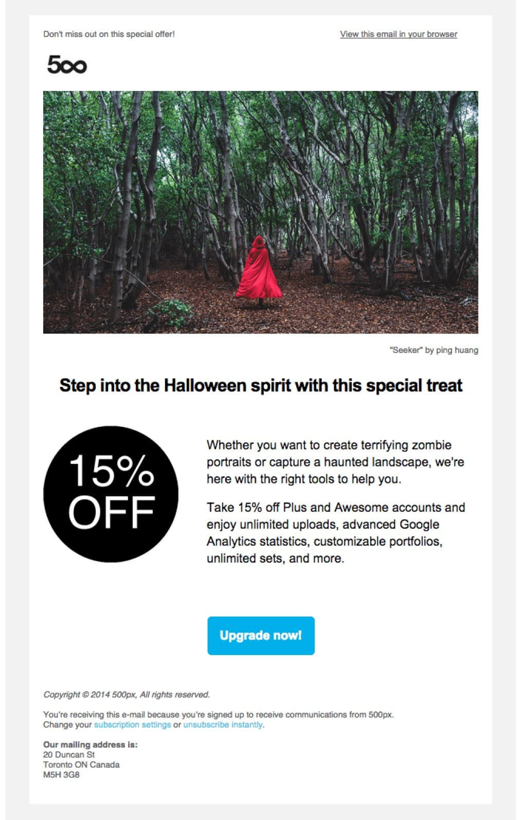 promotional email example 500px (special offer)