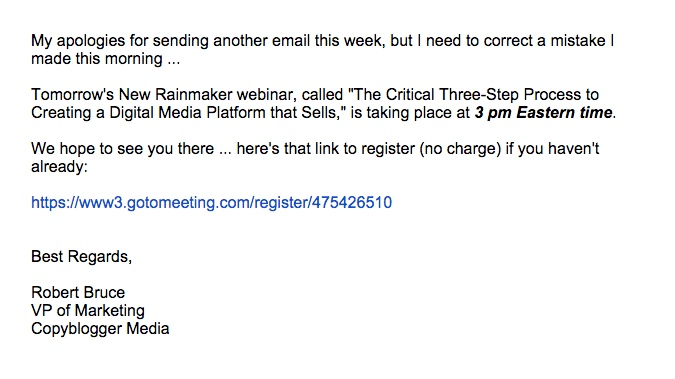 promotional email example copyblogger (apology email)