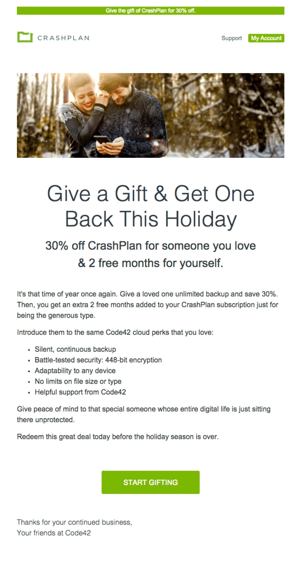promotional email example crashplan (special offer)