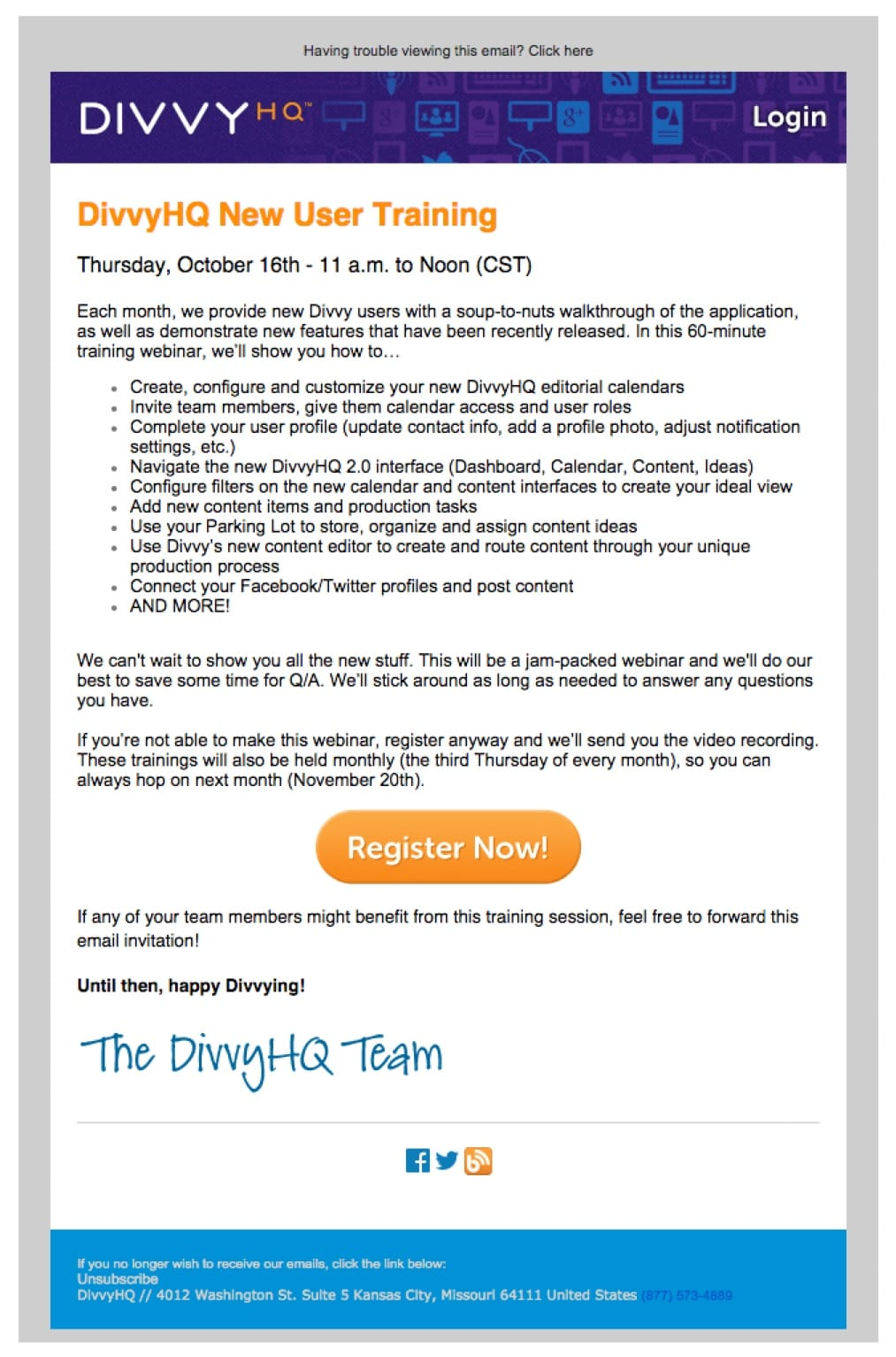 promotional email example divvy (invitation email)
