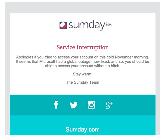 promotional email example sumday (apology email)