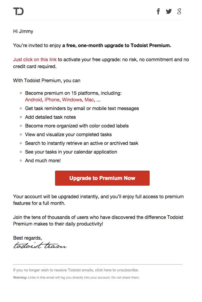 promotional email example todoist (upgrade email)