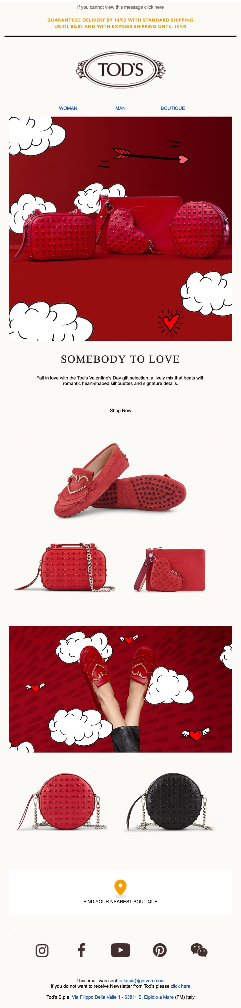 promotional email example tods (holiday offer)