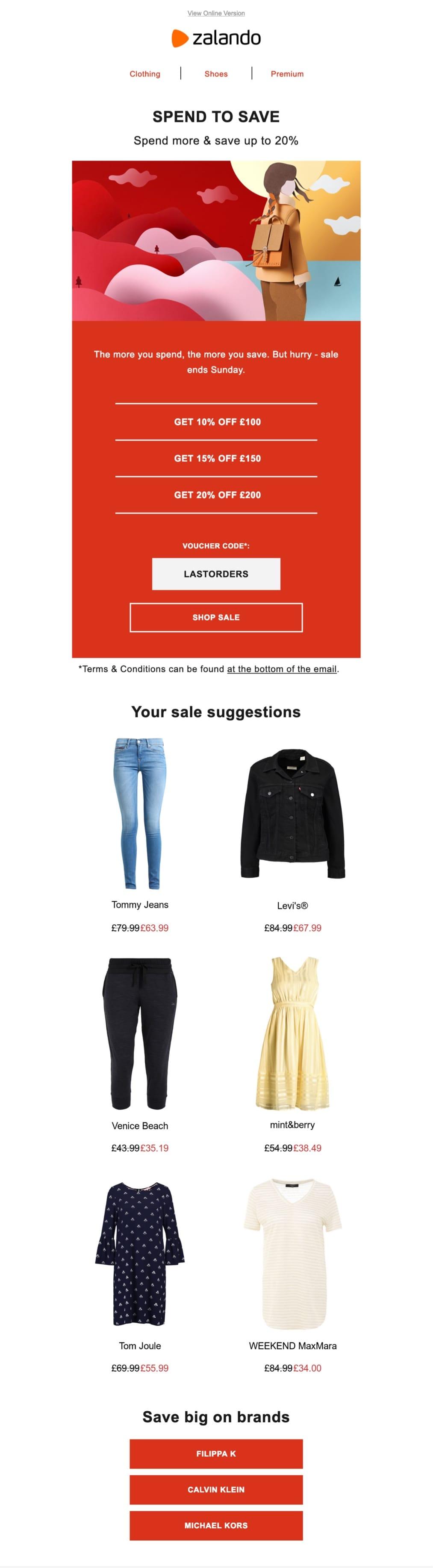 promotional email example zalando (sale email)