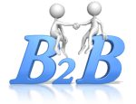 bubble figures shaking hands sitting atop letters B2B (business to business)