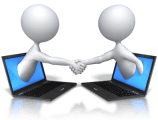 stick figures shaking hands from their computers over wellness report