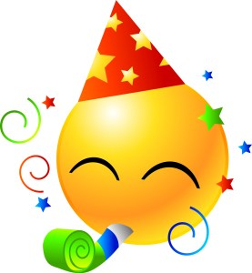 smiley face in triangular hat, blowing on a party favor with confetti all around