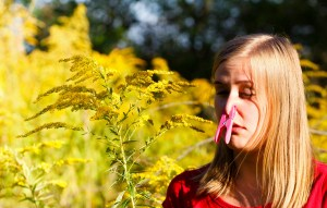 Blond girl with clothespin on her nose because of yellow ragweed pollen allergy.