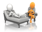 therapist in chair with client on counseling couch