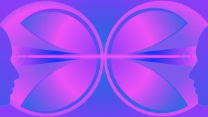 purple and magenta depiction of two psychic people communicating with telepathy