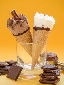 ice cream cones and chocolate
