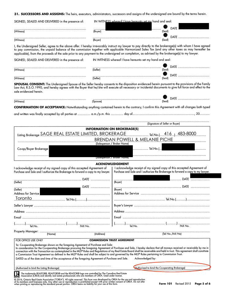 Sloppy real estate offer paperwork page 5