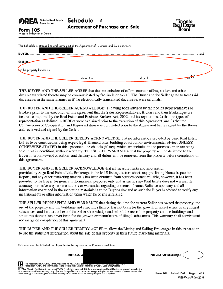 Sloppy real estate offer paperwork page 7