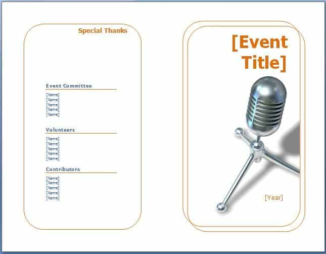Event Program Templates image e3r