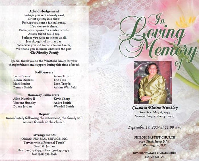 Samples Of Funeral Program Templates. Funeral Program Image 1