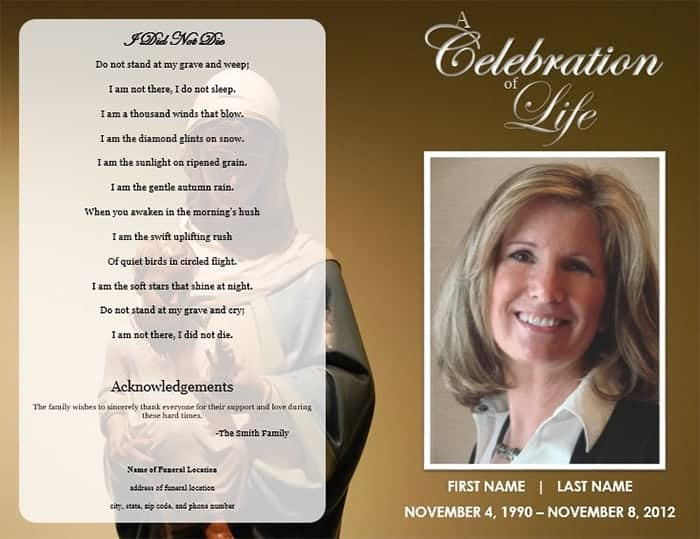 Funeral Program Format Template. Two Free Funeral Service