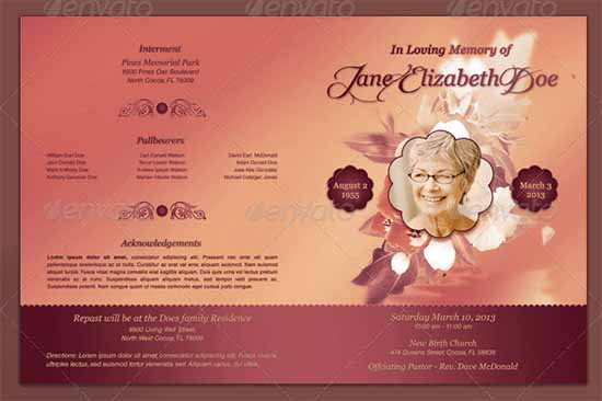 8 Free Funeral program Templates Word Excel PDF Formats – Free Sample Funeral Program Template