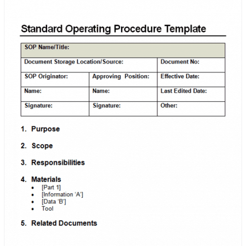 9 standard operating procedure sop templates word excel pdf sop word template for free pronofoot35fo Gallery