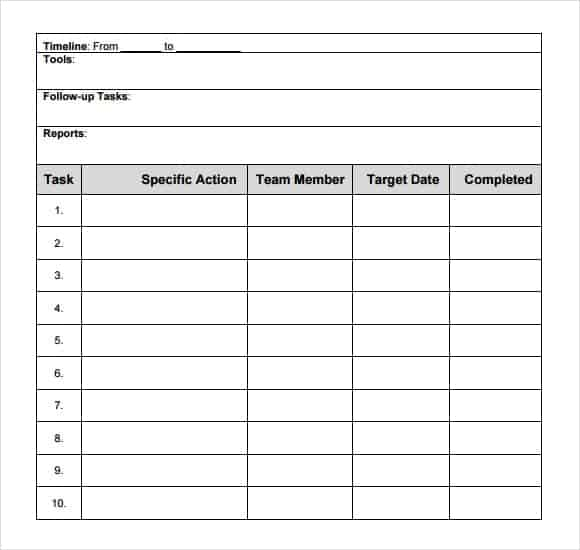 Action Plan Template Free Of Cost Archives - Word Templates