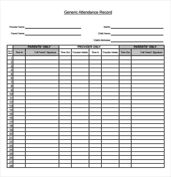 Attendance Sheet Template Word. Attendance Sheet Image 2  Attendance Template Word