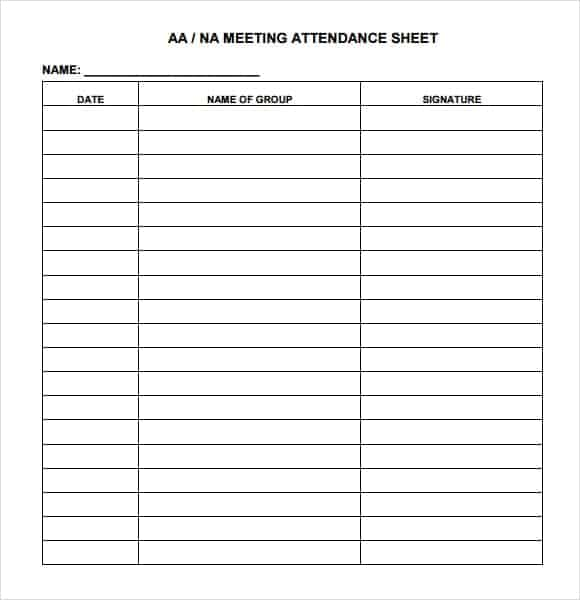9 Attendance sheet templates Word Excel PDF Formats – Sample Attendance Sheets