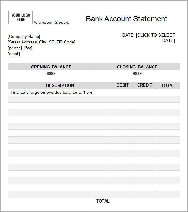 7  bank statement templates