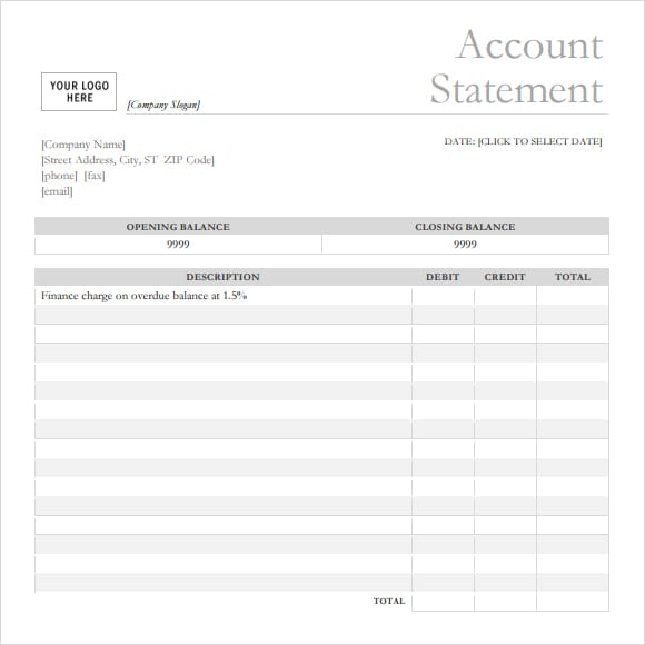 7+ Bank statement templates - Word Excel PDF Formats