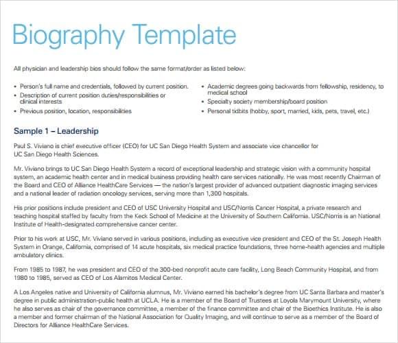 10 biography templates word excel pdf formats for Funeral biography template