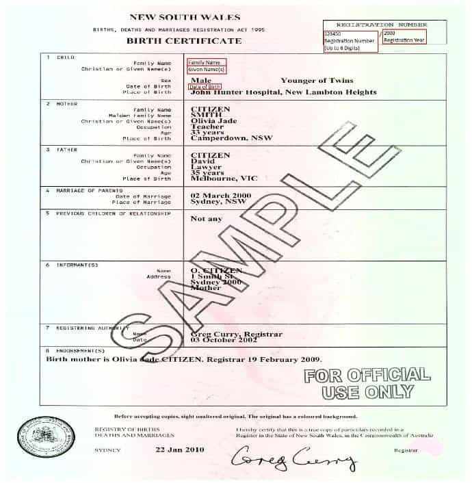 8 birth certificate templates word excel pdf formats nsw birth certificates post 1952 current yadclub Image collections