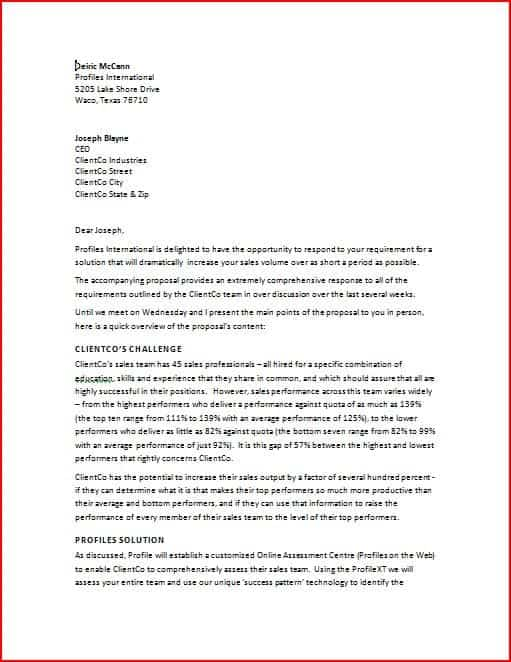 Superior Business Proposal Letter 1 To Example Business Proposal Letter