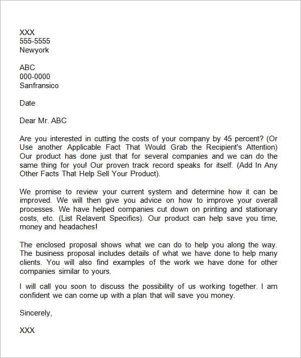 Business Proposal Letter 9  Format Of A Business Proposal Letter
