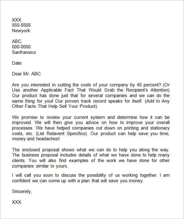 Business Proposal Letter 9  Business Proposal Letter Example