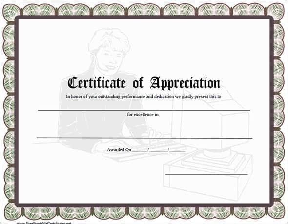 10 certificate of appreciation templates word excel pdf for Template for certificate of appreciation in microsoft word