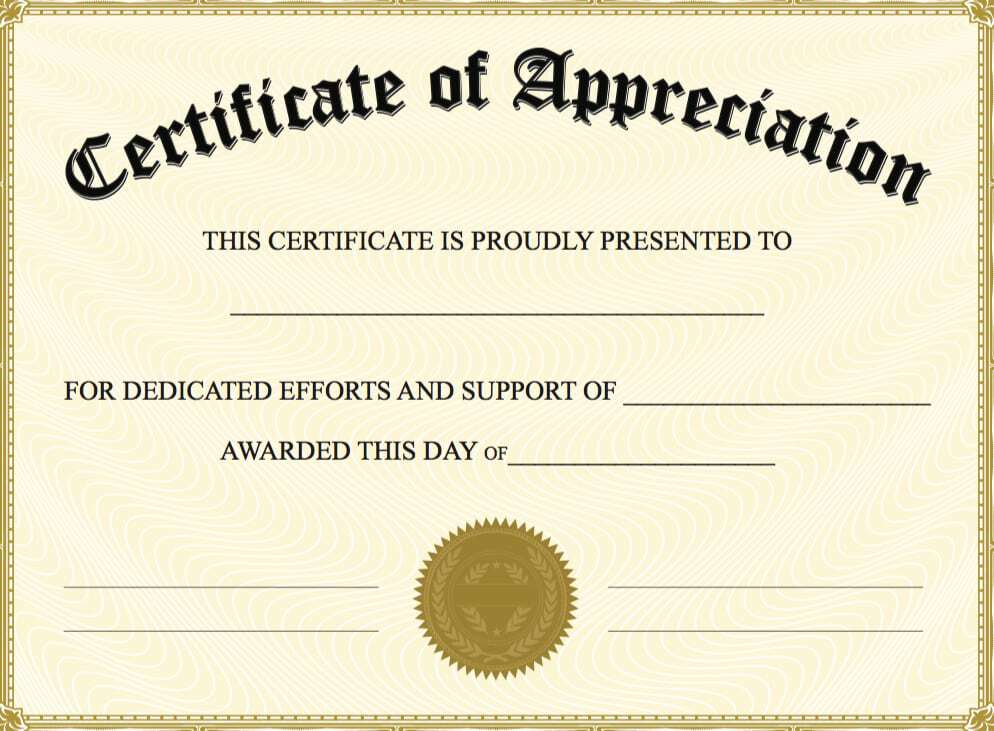 Nice Certificate Of Appreciation Image 7 Within Certificate Of Appreciation Word Template