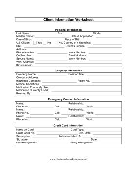 8 client information sheet templates word excel pdf formats