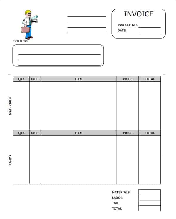 Contractor Invoice Templates Word Excel PDF Formats - Contractor invoice template pdf