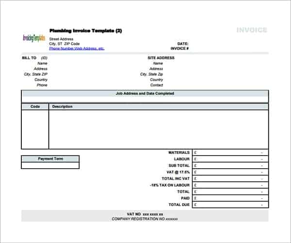 Contractor Invoice Templates  Word Excel Pdf Formats