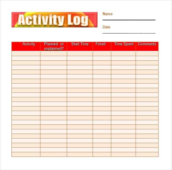 10+ Daily Activity Log Templates