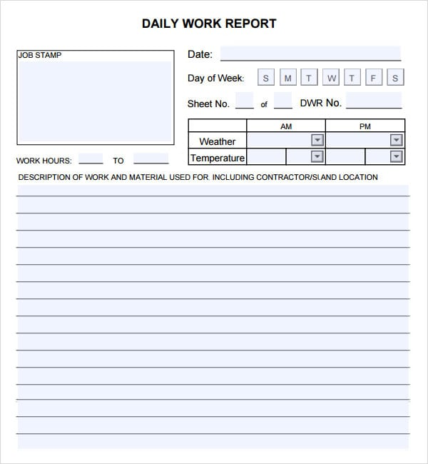 Doc585650 Daily Report Template 10 Daily Report Templates – Daily Report Template Word