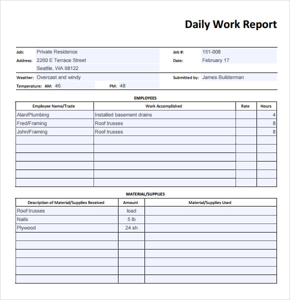 Sample Daily Report Format Geccetackletartsco - Construction daily report template excel