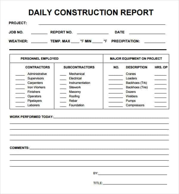 daily report for construction site melo in tandem co
