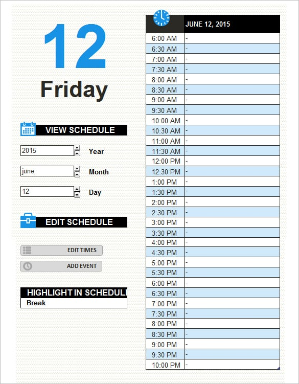 9+ Work Schedule Templates