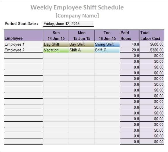 employee daily work schedule template