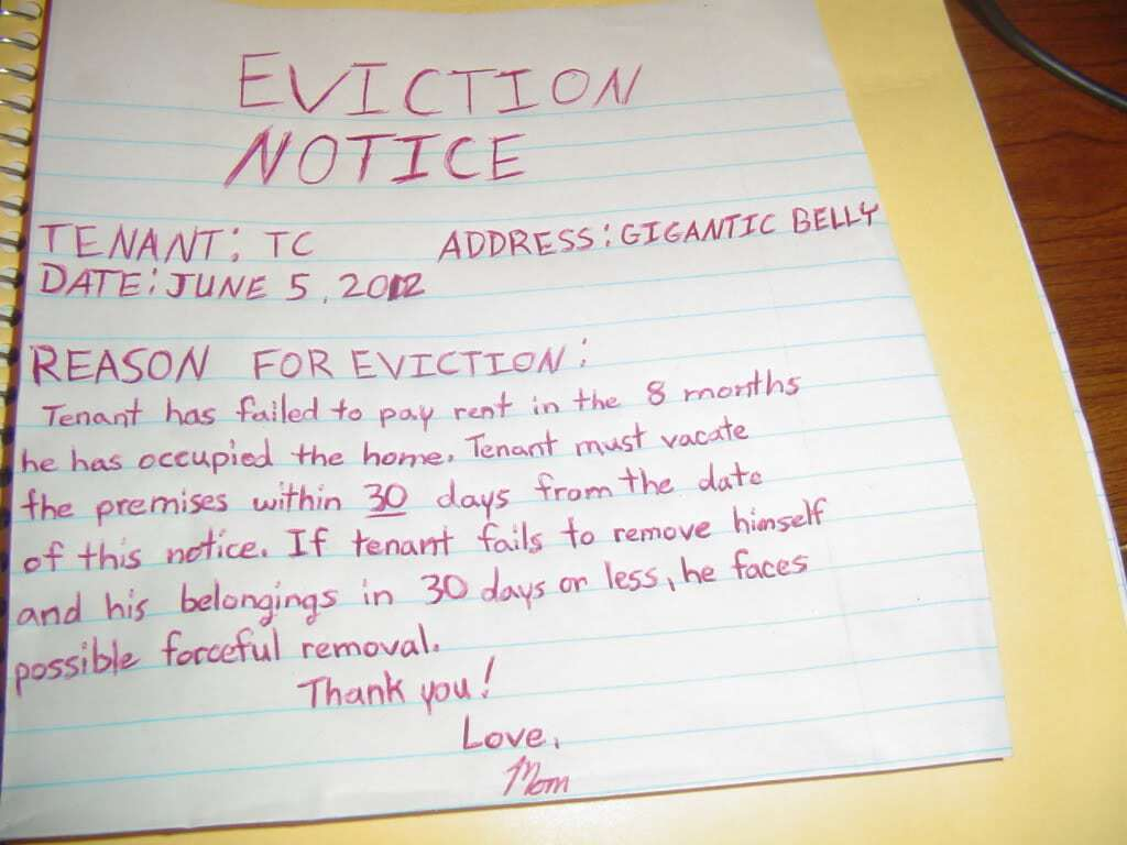 Eviction notice Example Archives Word Templates
