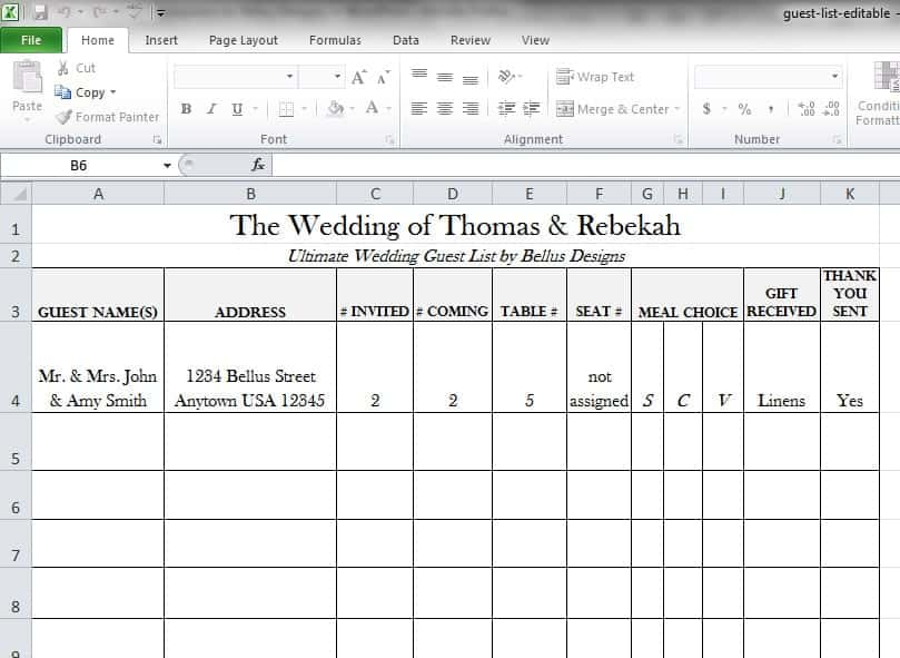 8+ Wedding Guest List Templates - Word Excel Pdf Formats