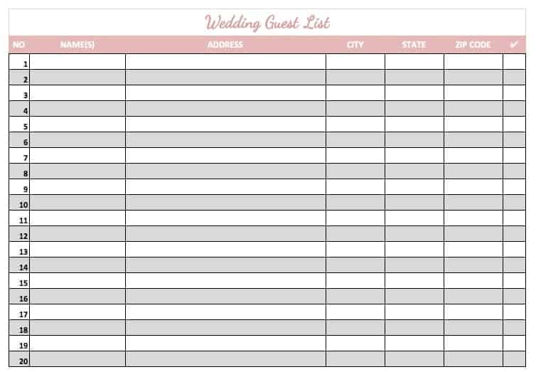 Printable guest list template