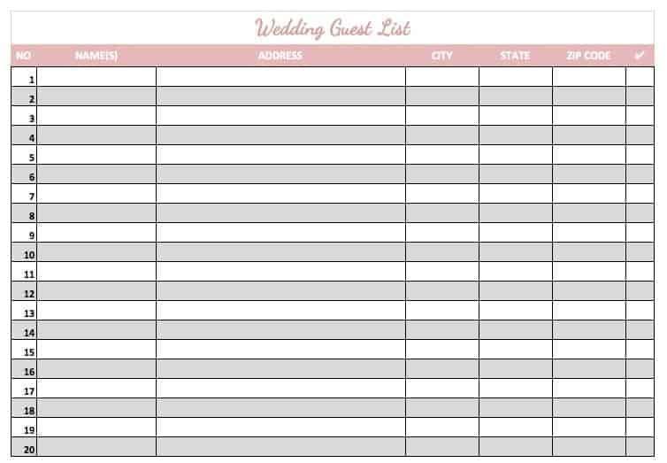 printable blank wedding guest list