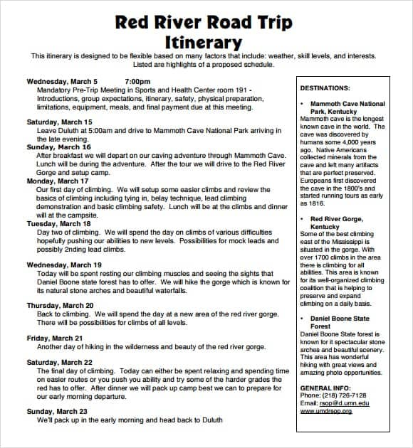 Road Trip Itinerary Template - Canelovssmithlive.Co